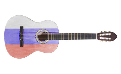 acoustic guitar with russian flag