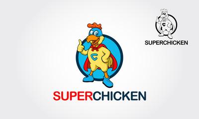 Cartoon super chicken. Vector illustration with simple gradients. Vector logo illustration.