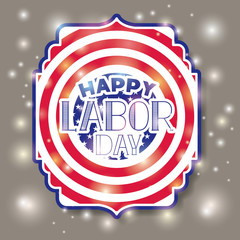 happy labor day with usa flag frame vector illustration design