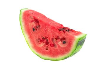 ripe watermelon cut in half on a white background