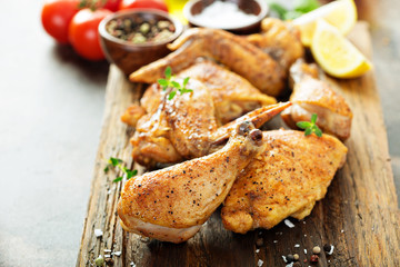 Pieces of grilled or smoked chicken