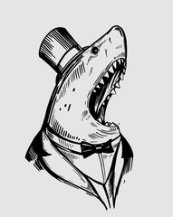 Shark in a jacket. Hand drawn illustration. Vector