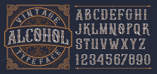 Vintage decorative font. Wall mural