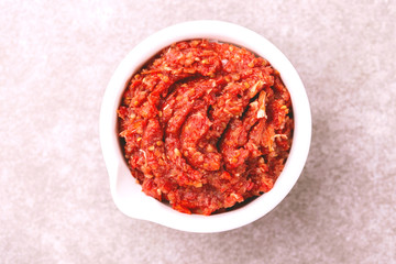 Papiers peints Hot chili Peppers Traditional Maghrebi hot chili pepper sauce paste harissa. adjika
