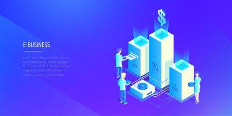 Digital financial system. People interact with the financial system. Profit analysis. Financial statistics. Modern vector illustration isometric style.