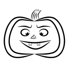 Jack pumpkin lantern is painted in black on white, 2D illustration.