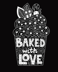 Backed with love. Lettering inside of a cupcake