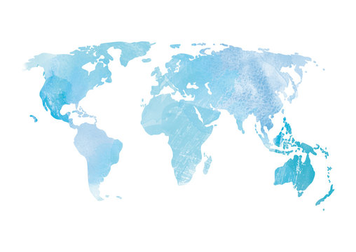 Blue watercolor world map