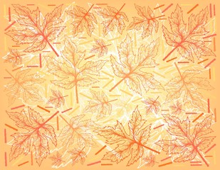 Autumn Tree, Illustration Wallpaper Background of Hand Drawn of Beautiful Maple Leaves. Also Appearing in Europe, Northern Africa and North America in Autumn Season.