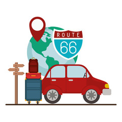 car with travel set icons vector illustration design