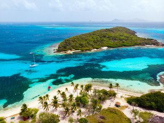 Wall Mural - Top view of Tobago cays