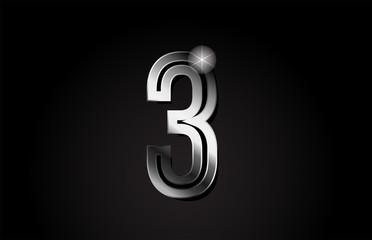 silver metal number 3 logo icon design