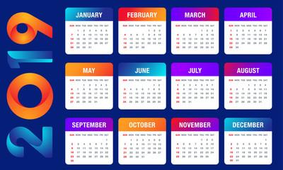 Simple 2019 year vector calendar / 2019 calendar vertical - week starts with Sunday