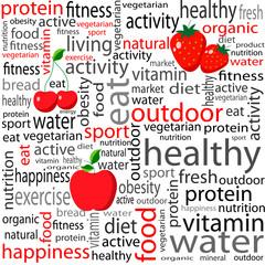 Ilustração feita com palavras relacionadas com uma vida saudável
