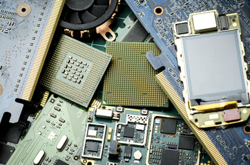 Old electronic boards for extraction of precious metals, close-up