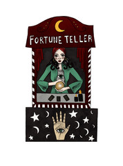 Fortune teller. Watercolor illustration on white isolated background