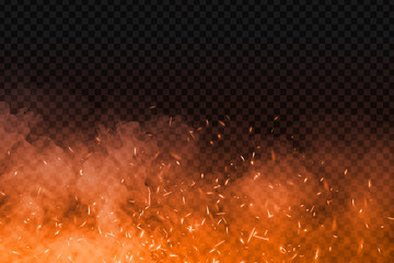 Vector realistic isolated fire effect with smoke for decoration and covering on the transparent background. Concept of sparkles, flame and light.