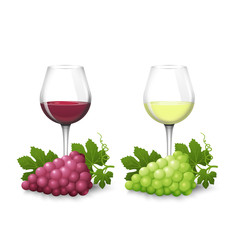 Glass glasses with white and red wine and bunches of grapes