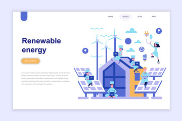 Landing page template of renewable energy modern flat design concept. Learning and people concept. Conceptual flat vector illustration for web page, website and mobile website.