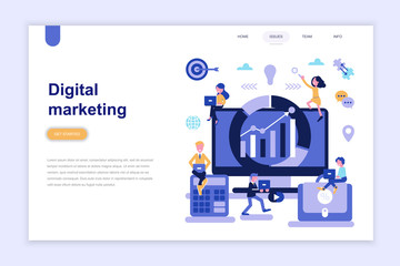 Landing page template of digital marketing modern flat design concept. Learning and people concept. Conceptual flat vector illustration for web page, website and mobile website.