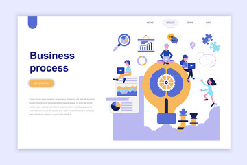 Landing page template of business process modern flat design concept. Learning and people concept. Conceptual flat vector illustration for web page, website and mobile website.