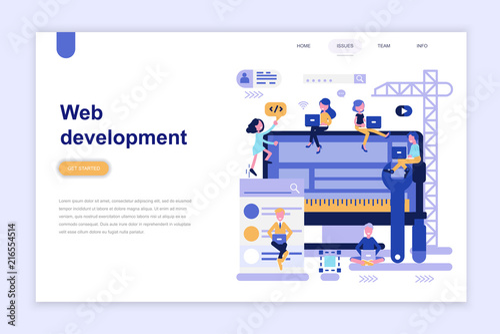 landing page template of web development modern flat design concept