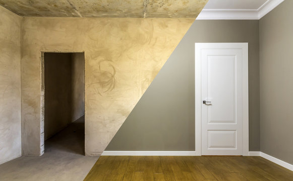Comparison of a room in an apartment before and after renovation works. New house interior with plastered and painted walls, white doors and wooden oak floor. Real estate development concept.