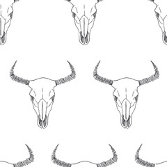 Vector seamless pattern with bull skull sketches. Hand drawn texture. Wild West symbol. Illustration of bison bone isolated on white background