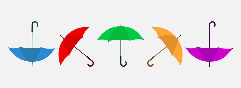 Set of Colorful umbrella illustration. Flat style vector EPS