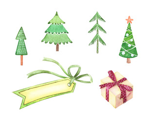 set of watercolor drawings decorative green Christmas trees and banners for winter holidays