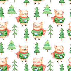 seamless watercolor drawing of green Christmas trees and piglets for winter holidays