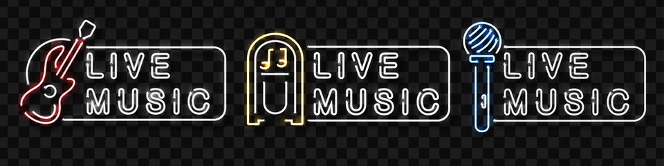 Vector set of realistic isolated neon sign of live music logo for decoration and covering on the transparent background. Concept of music, dj and concert.
