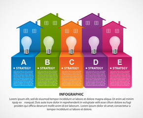 Infographics with colorful houses. For the presentation or advertising brochures. Vector illustration.