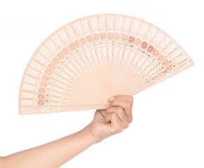 hand holding beautyful fan isolated on white background