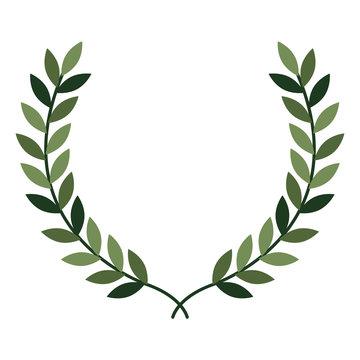 leafs wreath crown icon vector illustration design