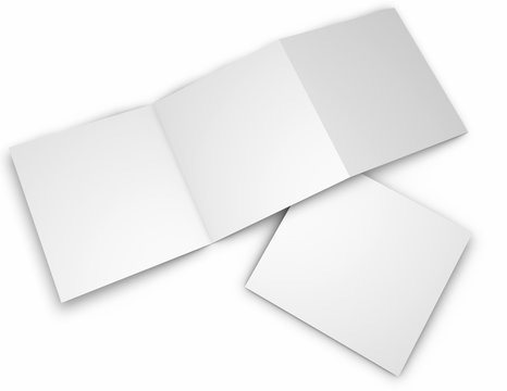 Square trifold blank pages leaflets, brochures mock up, isolated on white 3d rendring.