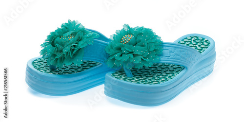 ef1d6edee13d Blue flip-flops with flowers isolated on white background