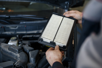 worn cabin air conditioner filter of car