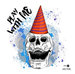 Portrait of a skull in a party hat. Can be used for printing on T-shirts, flyers, etc. Vector illustration