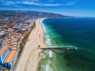 Aerial of Redondo Beach California coastline