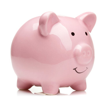 pink ceramic piggy bank isolated on white background