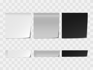 Vector realistic white and black memo sticker mock up isolated on transparent background. 3d square paper sheet mockup illustration for your design. Sticky note paper reminder templates.