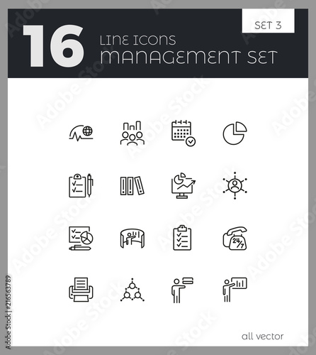 Management icons  Set of line icons  Deadline, recruitment, schedule