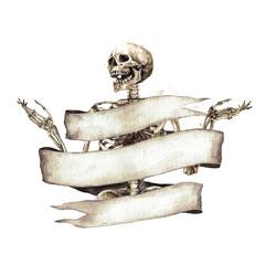 Foto op Plexiglas Waterverf Illustraties Human Skeleton decorated with ribbon banner. Watercolor Illustration.
