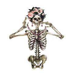 Foto op Plexiglas Waterverf Illustraties Human Skeleton decorated with flowers. Watercolor Illustration.
