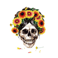 Foto op Plexiglas Waterverf Illustraties Human Skull decorated with Flowers. Watercolor Illustration.