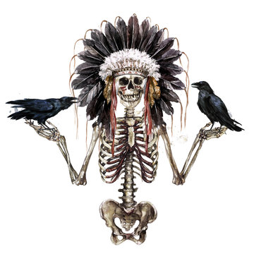 Human Skeleton decorated with war bonnet. Watercolor Illustration.