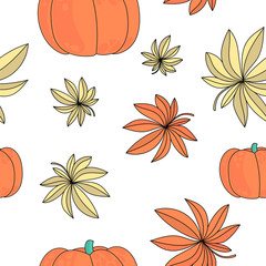 Autumn Seamless Pattern AUTUMN GIFTS Color Vector Illustration for Birthday and Party, Wall Decorations, Scrapbooking, Baby Book, Photo Albums and Card Print