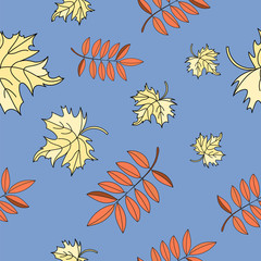 Autumn Seamless Pattern LEAVES Color Vector Illustration for Birthday and Party, Wall Decorations, Scrapbooking, Baby Book, Photo Albums and Card Print