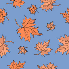 Autumn Seamless Pattern RED MAPLE LEAVES Color Vector Illustration for Birthday and Party, Wall Decorations, Scrapbooking, Baby Book, Photo Albums and Card Print